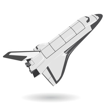 Black and white space shuttle on white. Nice american flighting spaceship  - flatten isolated illustration master vector