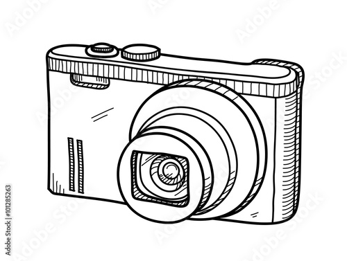 Line Drawing Camera : Quot digital camera doodle a hand drawn vector