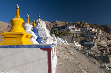 Acrylic Prints Monument Stupas in front of budhist temple Phyang, Ladakh, India