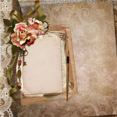 Vintage background with old card, letters, withered roses