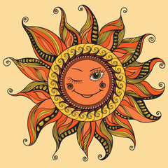 Vector illustration with smiling sun