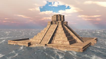Maya Tempel im Meer