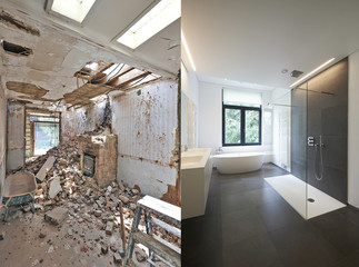 Renovation of a bathroom Before and after