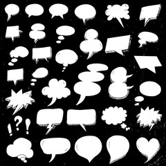 White Hand Drawn Speech Bubbles in doodle style on black