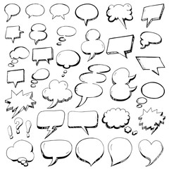 Hand Drawn Speech Bubbles in doodle outline style