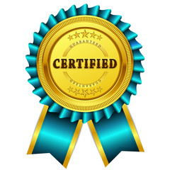 Certidied Guaranteed Blue Seal Vector Icon