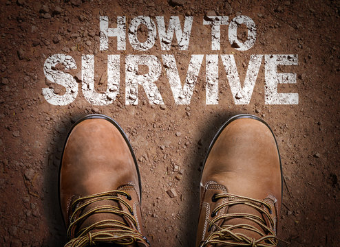 Top View of Boot on the trail with the text: How To Survive