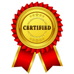 Certidied Guaranteed Red Seal Vector Icon