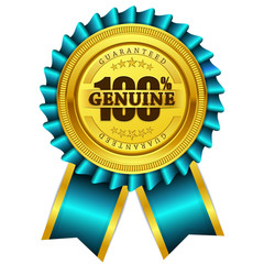 Genuine Guaranteed Blue Seal Vector Icon