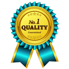 Number One Quality Guaranteed Blue Seal Vector Icon