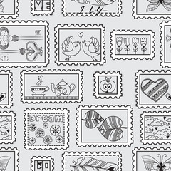 Vector seamless pattern with postal stamps. Seamless stamps hand-drawn pattern. Can be used for wallpaper, web page background, wrapping, textile and scrapbook.