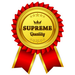 Supreme Quality Red Seal Vector Icon