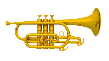 Trompete isoliert auf weißem Hintergrund