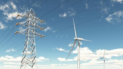 Hochspannungsleitung und Windkraftanlagen