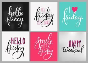 Friday Weekend lettering postcard set