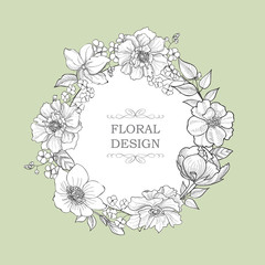 Floral background with engraved flower frame. Flourish greeting card