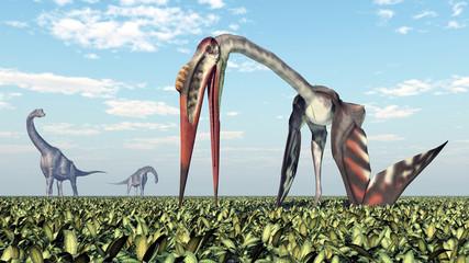 Dinosaurier Brachiosaurus und Flugsaurier Quetzalcoatlus