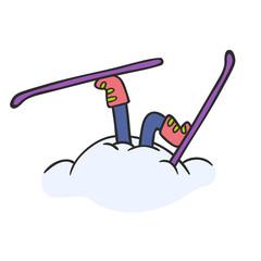 skier in a snowdrift