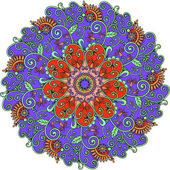 illustration mandala with colored ornaments for design