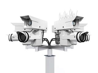Überwachungskamera isoliert auf weißem Hintergrund