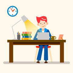 happy people, freelance, working from home vector design