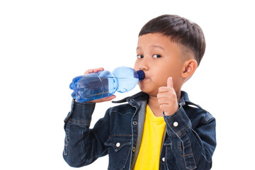 Boy drinking water and showing thumb up.