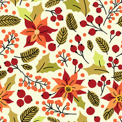 Christmas seamless pattern with flower, leaves and berries. Can be used for desktop wallpaper or frame for a wall hanging or poster, surface textures, web page backgrounds, textile and more.