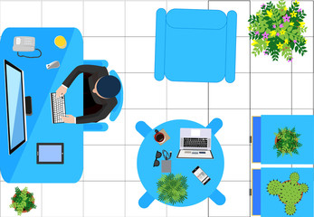 workers; businessman and businesswoman ; people workers at home or in office, workplace ; workspace - top view