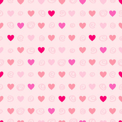 Seamless pattern with hearts and circles. Vector illustration