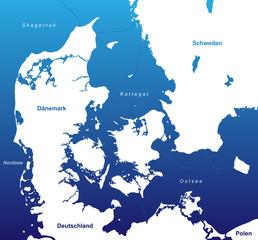 Karte von Dänemark - Blau/Weiß (Kunst)