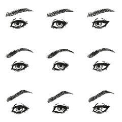 Icons set female eye with long eyelashes and eyebrows different shapes look just to the left to the right, black and white to show the make-up design diagrams and instructions, isolated vector objects