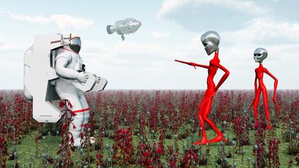 Astronaut und Außerirdische