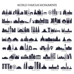 Travel and tourism background. World famous monuments set. Vector illustration