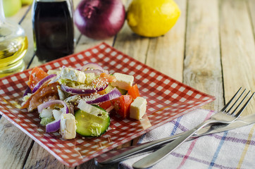 Greek salad with sesame seeds