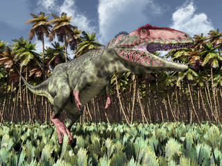 Dinosaur Giganotosaurus in the jungle