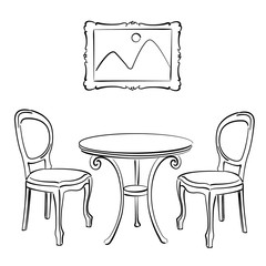Sketched chairs, table and picture frame