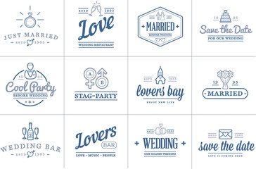 Set of Vector Wedding Love Elements Merry Me Illustration can be used as Logo or Icon in premium quality