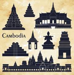 Cambodia detailed monuments. Vector illustration