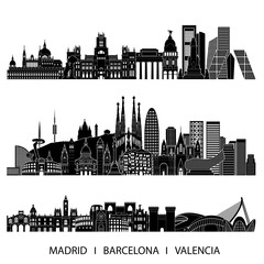 City skyline detailed silhouette set (Madrid, Barcelona, Valencia). Vector illustration