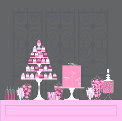 Candy Buffet with cake and cupcakes. Wedding dessert bar. Birthday sweet table. Vector illustration.