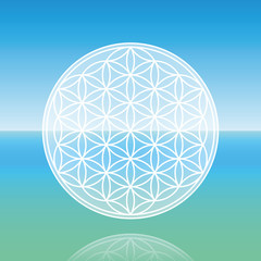 Flower of Life - levitating over calm peaceful ocean.