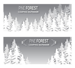 Wild forest background. Origami pine tree. Applique landscape nature. Paper cut style -  wood panorama circle template. Outdoor camping design. Vector illustration