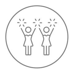 Cheerleaders line icon.