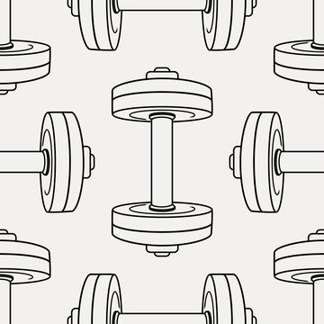 Vector monochrome seamless pattern with dumbbells. Fitness background.