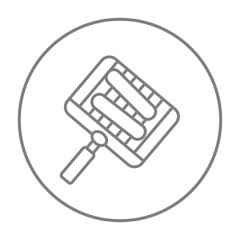 Grilled sausages on grate for barbecue line icon.