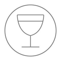 Glass of wine line icon.