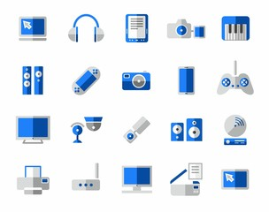 Media, icon, colorful, blue.