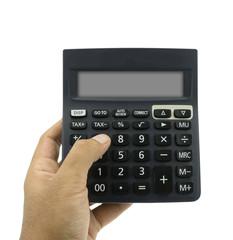 Man hand hold calculator