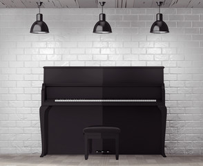 Black piano in front of Brick Wall with Blank Frame