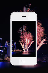 Taking firework photo with smartphone.